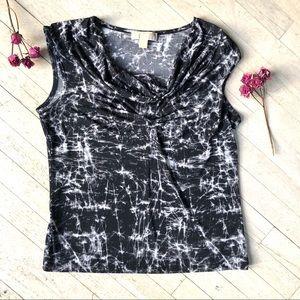 EUC MICHAEL KORS soft black & white sleeveless top